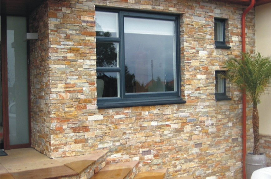 Pared piedra papel pintado new walls nws papel de - Revestimiento de pared exterior ...